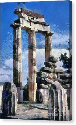 Temple Of Athena In Delphi Canvas Print by George Atsametakis