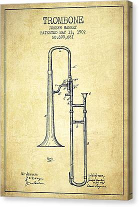 Trombone Patent From 1902 - Vintage Canvas Print by Aged Pixel