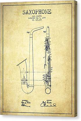 Saxophone Patent Drawing From 1899 - Vintage Canvas Print by Aged Pixel
