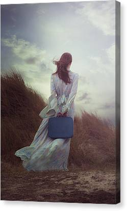 Woman With Suitcase Canvas Print by Joana Kruse