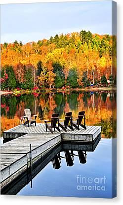 Wooden Dock On Autumn Lake Canvas Print by Elena Elisseeva