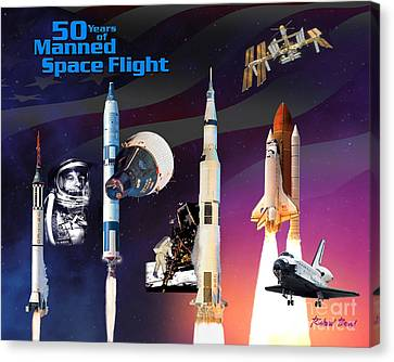 50 Years Of Manned Space Flight Canvas Print by Richard Beard