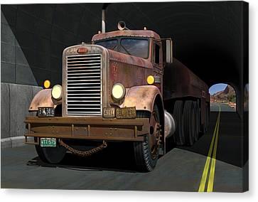 '55 Peterbilt Tunnel Scene Canvas Print by Stuart Swartz