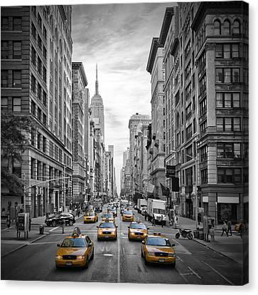 5th Avenue Yellow Cabs Canvas Print by Melanie Viola