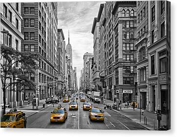 5th Avenue Yellow Cabs - Nyc Canvas Print by Melanie Viola