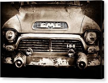 1957 Gmc V8 Pickup Truck Grille Emblem Canvas Print by Jill Reger