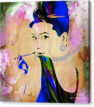 Audrey Hepburn Diamond Collection Canvas Print by Marvin Blaine