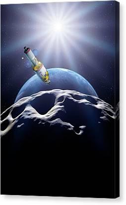 Deflecting A Near-earth Asteroid Canvas Print by Detlev Van Ravenswaay