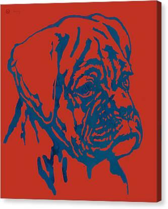 Dog Stylised Pop Modern Etching Art Portrait Canvas Print by Kim Wang
