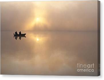Fisherman In Boat, Lake Cassidy Canvas Print by Jim Corwin