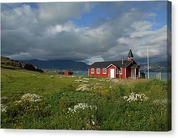 Greenland, Erik's Fjord, Brattahlid Canvas Print by David Noyes