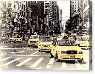 6th Avenue Nyc Yellow Cabs Canvas Print by Melanie Viola