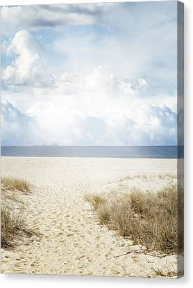 Beach Trail Canvas Print by Les Cunliffe