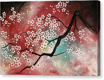 Mothers Day Gift Ideas Canvas Print featuring the painting Cherry Blossoms by Tomoko Koyama