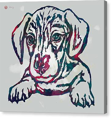 Dog Stylised Pop Modern Etching Art Portrait Canvas Print by Kim Wang