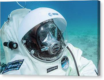 Esa Underwater Astronaut Training Canvas Print by Alexis Rosenfeld