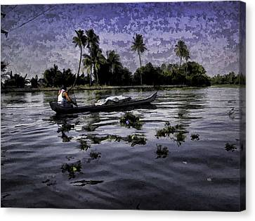 Man Boating On A Salt Water Lagoon Canvas Print by Ashish Agarwal