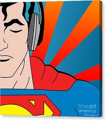 Cartoon Canvas Print featuring the digital art Superman  by Mark Ashkenazi