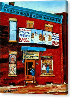 74 Fairmount Street La Maison De L'original Bagel The Baker Chef At Work Vintage Montreal Scene Canvas Print by Carole Spandau