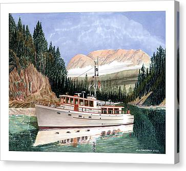 75 Foot Classic Bridgrdeck Yacht Canvas Print by Jack Pumphrey