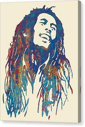Bob Marley Stylised Pop Art Drawing Potrait Poser Canvas Print by Kim Wang