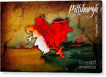 Pittsburgh Map Watercolor Canvas Print by Marvin Blaine