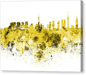 Tokyo Skyline In Watercolor On White Background Canvas Print by Pablo Romero