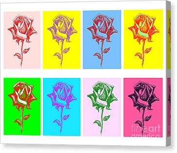 8 Warhol Roses By Punt Canvas Print by Gordon Punt
