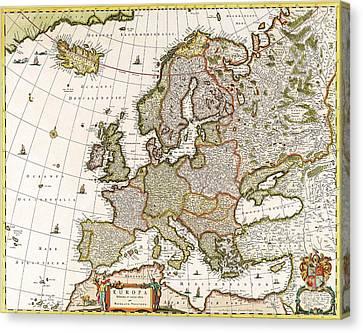 Antique Map Canvas Print by Baltzgar