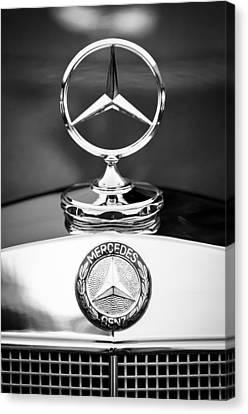 Mercedes-benz Hood Ornament Canvas Print by Jill Reger