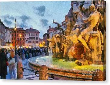 Piazza Navona In Rome Canvas Print by George Atsametakis