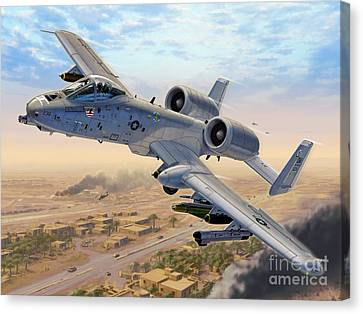 A-10 Over Baghdad Canvas Print by Stu Shepherd