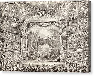 A 1789 Performance In The Theatre Des Varietes Amusantes Canvas Print by French School