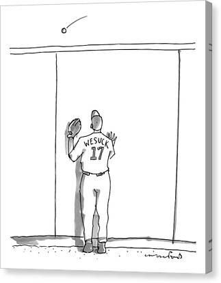 A Baseball Player Watches A Ball Fly Over A Wall Canvas Print by Michael Crawford