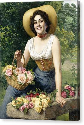 A Beauty Holding A Basket Of Roses Canvas Print by Gaetano Bellei