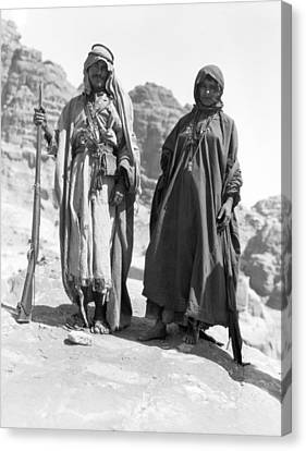 A Bedouin And His Wife Canvas Print by Underwood Archives