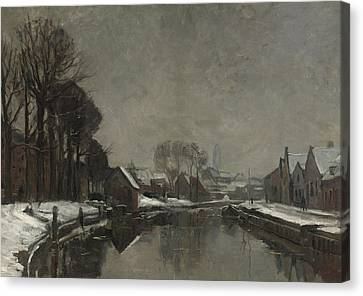 A Belgian Town In Winter Canvas Print by Albert Baertsoen