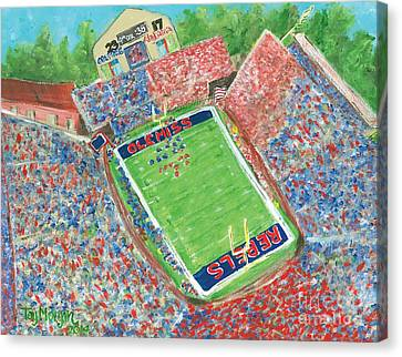 A Big Win In Oxford Ole Miss Alabama Game Canvas Print by Tay Morgan