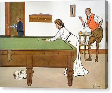 A Billiards Match Canvas Print by Lance Thackeray