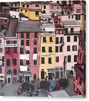 A Bird's Eye View Of Cinque Terre Canvas Print by Quin Sweetman