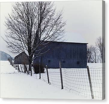 A Blue Barn - The Scenic Berkshires Canvas Print by Thomas Schoeller
