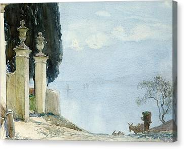 A Blue Day On Como Canvas Print by Joseph Walter West