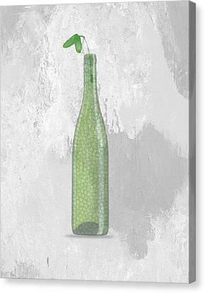 A Bottle With Flower Canvas Print by Aged Pixel