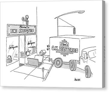 A Box From A Truck Labeled Stan's O.k. Deliveries Canvas Print by Jack Ziegler