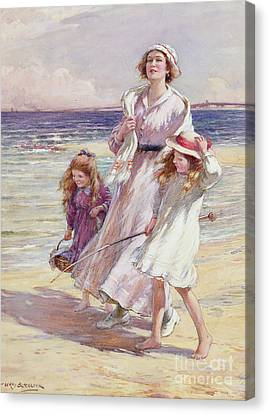 A Breezy Day At The Seaside Canvas Print by William Kay Blacklock