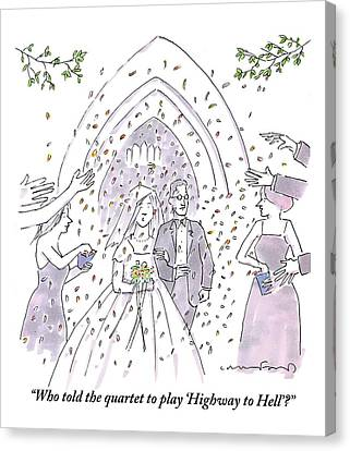 A Bride And Groom Are Seen Talking As People Canvas Print by Michael Crawford