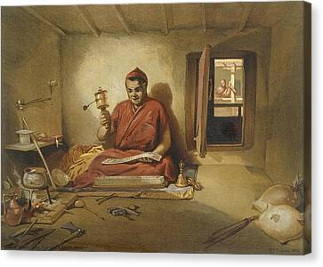 A Buddhist Monk, From India Ancient Canvas Print by William 'Crimea' Simpson