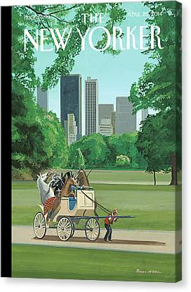 A Buggy Is Pulled By A Man While Horses Ride Canvas Print by Bruce McCall