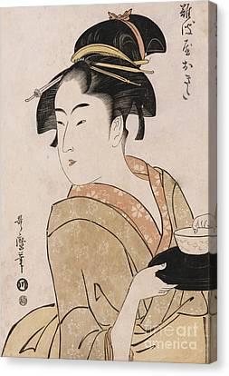 A Bust Portrait Of The Waitress Okita Of The Naniwaya Teahouse Canvas Print by Kitagawa Utamaro