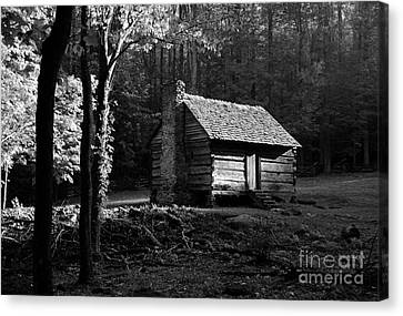 A Cabin In The Woods Bw Canvas Print by Mel Steinhauer